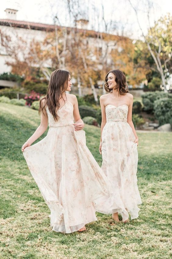Spring Napa Valley Wedding with Floral Print Bridesmaids