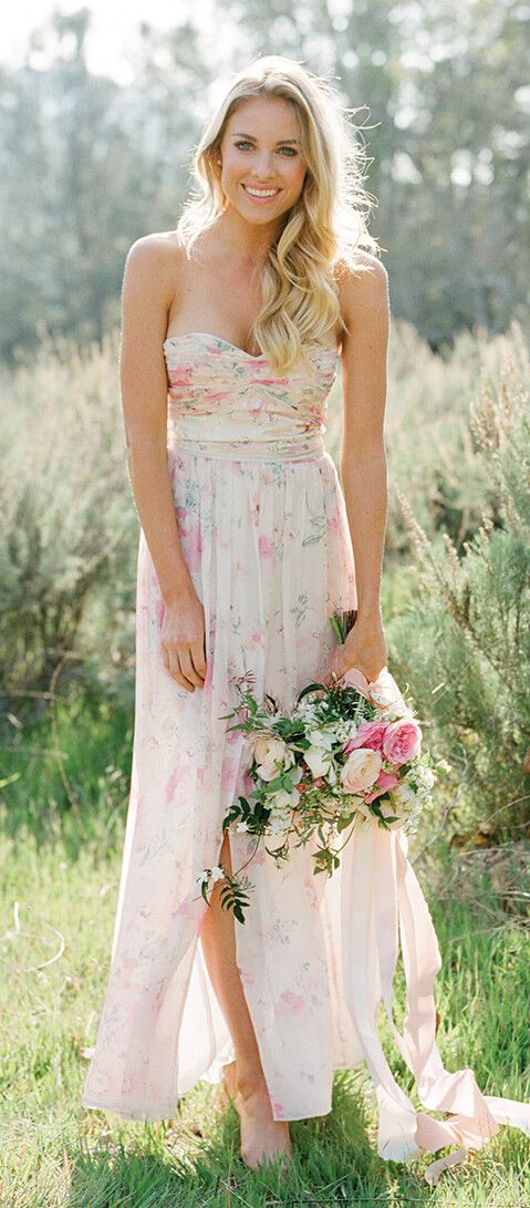 Floral prints and deep greens bridesmaid dresses