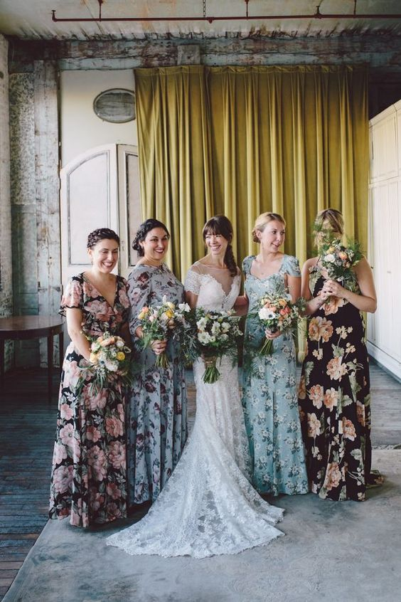 sweet flower print bridesmaid dresses