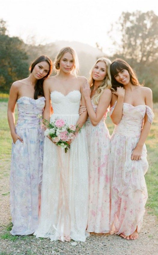 bold bridesmaids looks in floral print dresses