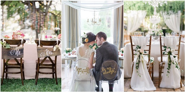 Chic Wedding Chair Decoration Ideas for Bride and Groom