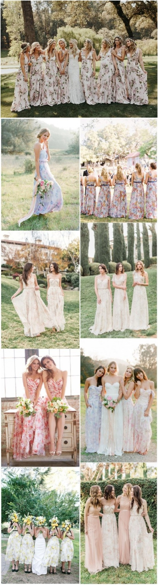 Floral Print Bridesmaid Dresses for Spring and Summer Weddings