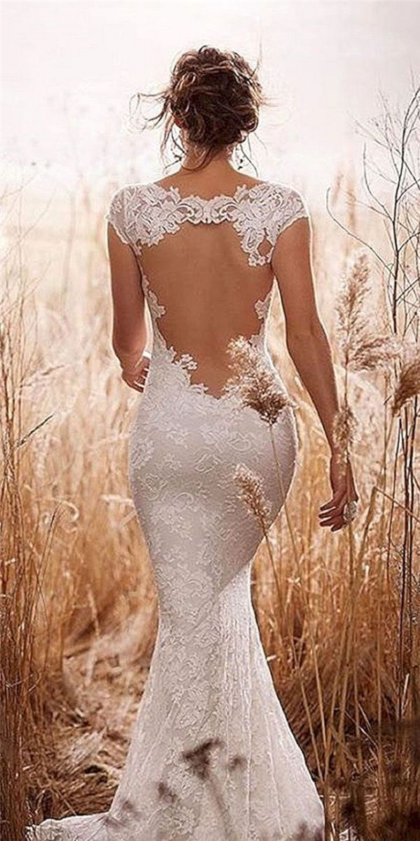 18 sexy and breath taking backless wedding dresses for Wedding dress rustic style