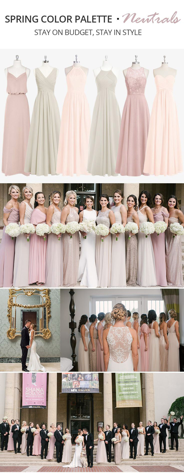 Trending Spring Color Palette for Your Bridesmaid Dresses-Neutrals