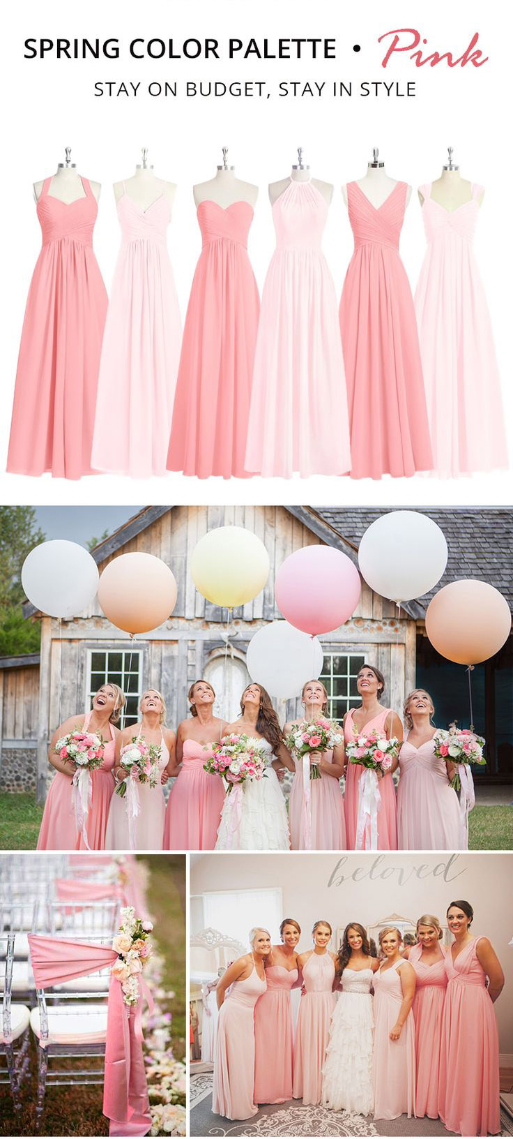 Trending Spring Color Palette for Your Bridesmaid Dresses-Pink