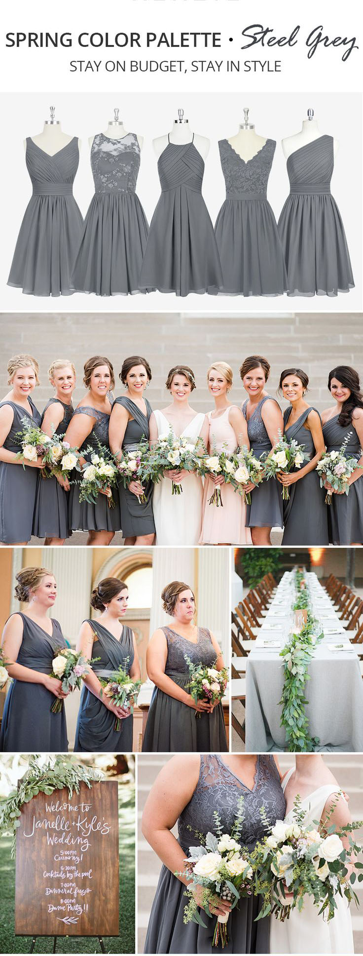 Trending Spring Color Palette for Your Bridesmaid Dresses-Steel-grey