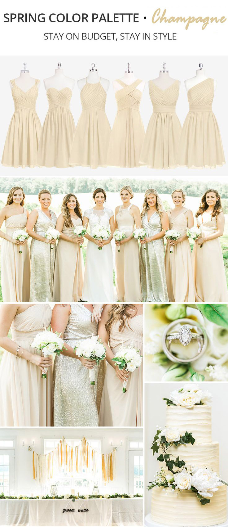 Trending Spring Color Palette for Your Bridesmaid Dresses-champagne