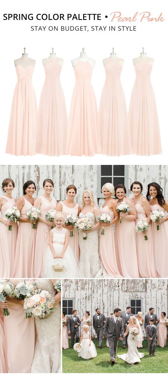 Trending Spring Color Palette for Your Bridesmaid Dresses-pearl-pink