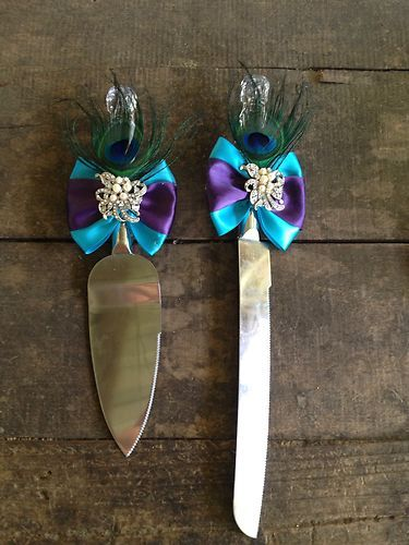Peacock Wedding Cake Knife Set
