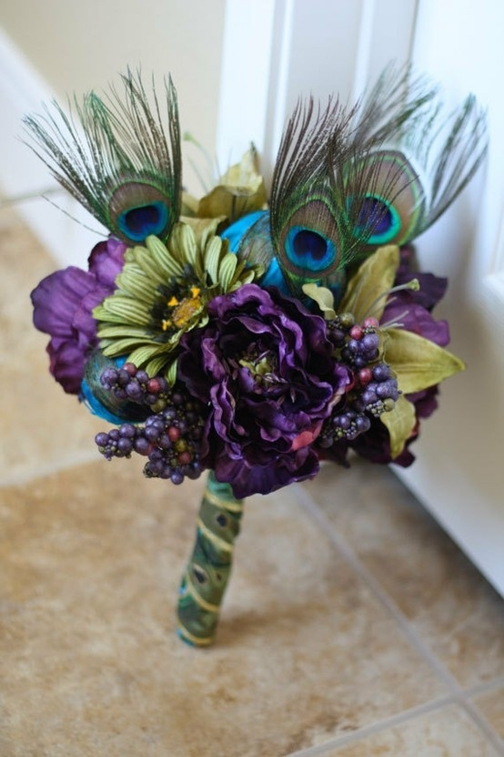 Awesome Peacock Wedding Bouquet Ideas