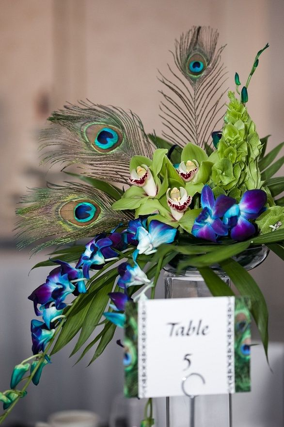 Peacock Wedding Centerpiece Ideas
