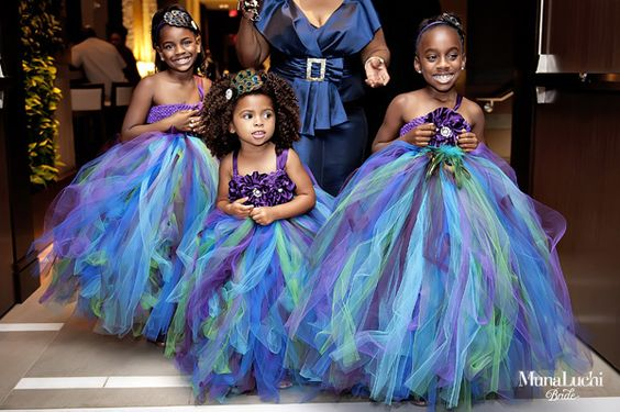 A Colorful Peacock Flower Girl Dresses