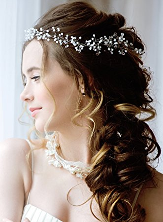 Bridesmaids-19in Wedding Hair Piece- Silver and Pearl