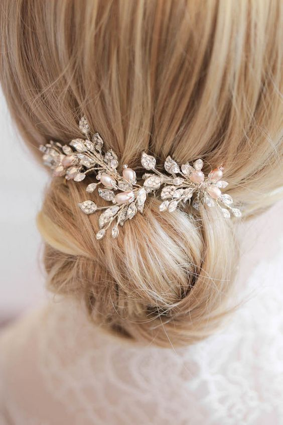 Silver and blush bridal hair combs