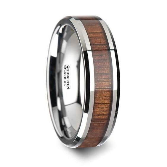 KOLOA Koa Wood Inlay Tungsten Wedding Band