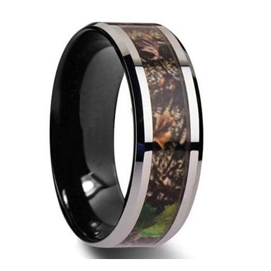 8MM Camo Inlay Tungsten Wedding Band