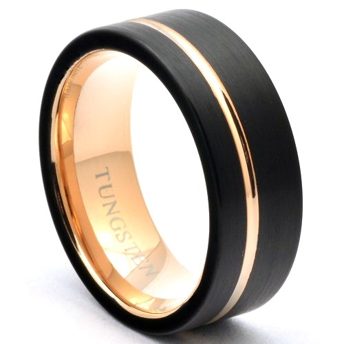 Black Tungsten Ring Offset Rose Gold Stripe Wedding Band