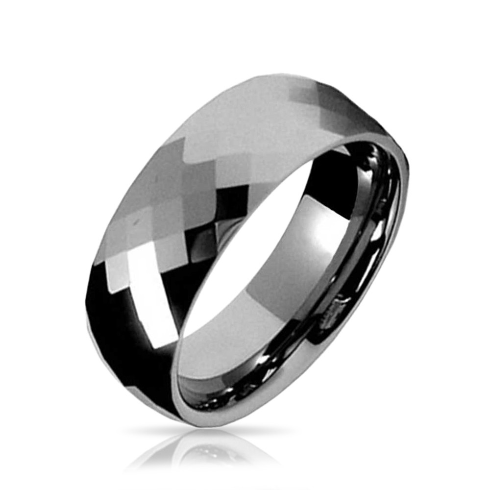 Multi faceted Tungsten Wedding Band