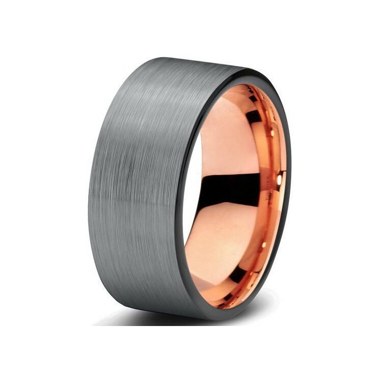 Gunmetal & Rose Gold Tungsten Wedding Band