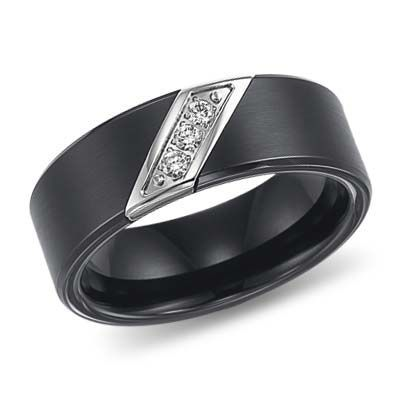 8mm Triton Black Tungsten Diamond Wedding Band