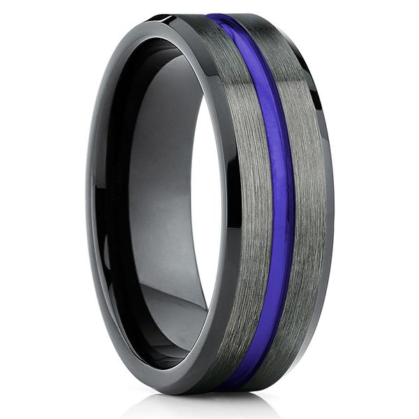 Purple Tungsten Wedding Band