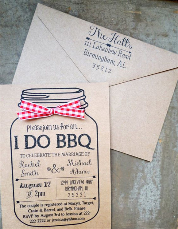 I Do BBQ Mason Jar Kraft Brown Bag Customized by KraftsByJessica