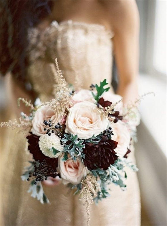 winter wedding bouquet. Photo by Edward Osborn Photography