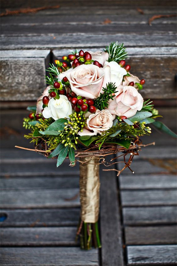 peonies for a wintry wedding