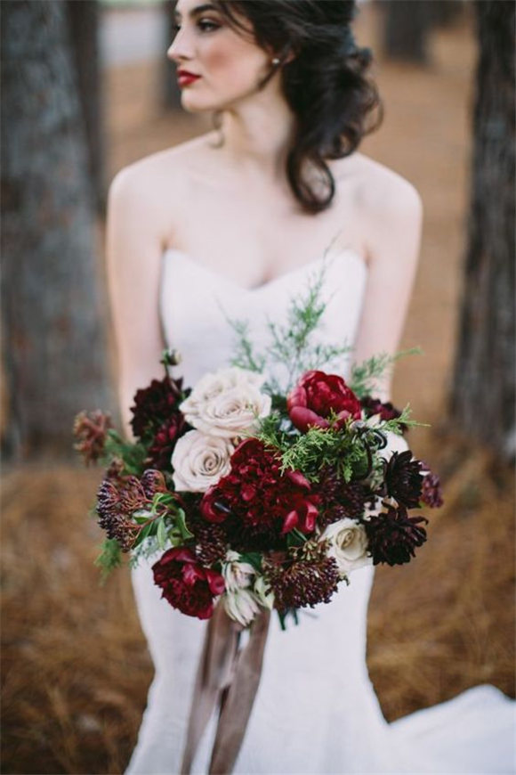 Red and cream marsala bridal bouquet