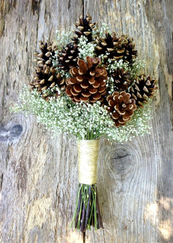 Winter Wedding Pine Cone and Dried Baby's Breath Bouquet