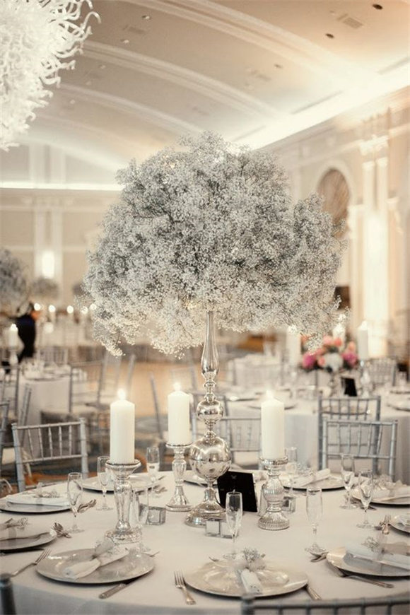Silver + baby's breath ~ The Best Wedding Centerpieces