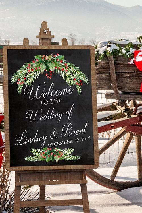 Winter Wedding Decor - Chalkboard Wedding Sign