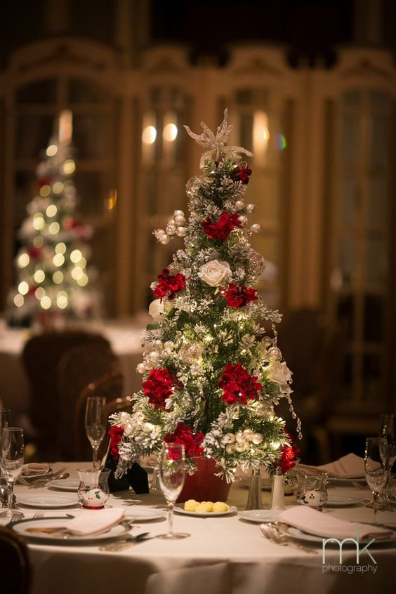 Christmas tree winter wedding centerpiece