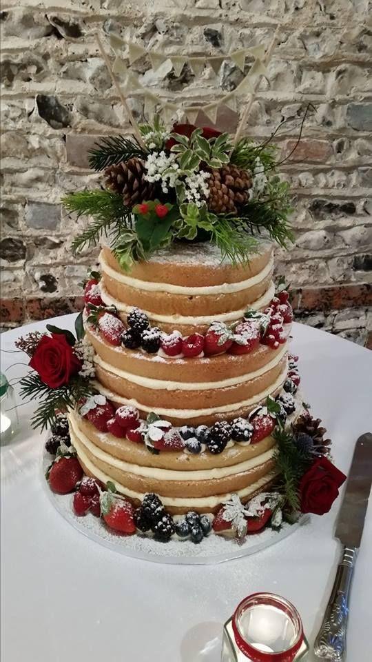 Winter naked wedding cake