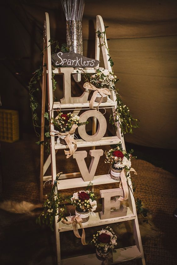 Vintage step ladder display with wooden LOVE letters
