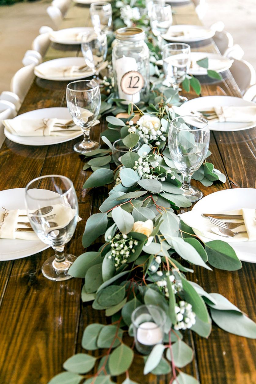 Romantic Greenery Wedding Centerpieces