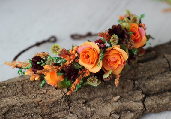 Breathtaking Floral Crowns for Fall Weddings